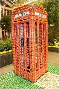 """Juror's favorite from the 2008 Canstruction contest in New Jersey: """"Answer the Call the End Hunger,"""" created by Parette Somjen Architects of Rockaway, N.J."""