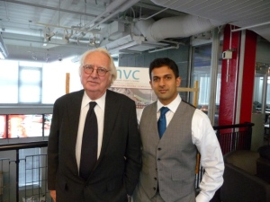 Newark-born architect Richard Meier, FAIA, FRIBA (left), and Alok Saksena, Associate AIA, LEED AP, creator and director of the Newark Visitors Center Design Competition, at the recent all-day judging for the competition, at which 21 finalists were selected.