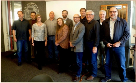 "The ""Train the Trainer"" event was held on April 1, 2016 Pictured from L to R: Tim Boyland, AIA AIANY, Mark Kruse, AIA AIANY, Verity Frizzill, AIA, Kurt Kalafsky, AIA, Kimberly Bunn, AIA, Dan Horn Assoc. AIA NY, Justin A. Mihalik, AIA, Illya Azaroff, AIA AIANY, Michael Lingerfelt, FAIA Trainer, Laurence E. Parisi, AIA Co-trainer."